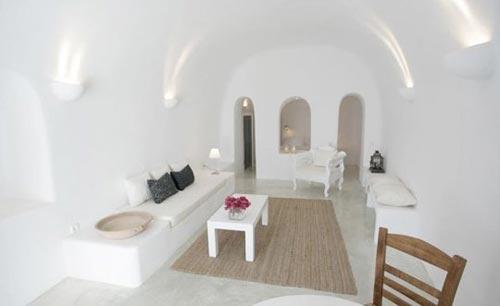 Griekse witte slaapkamer Santorini