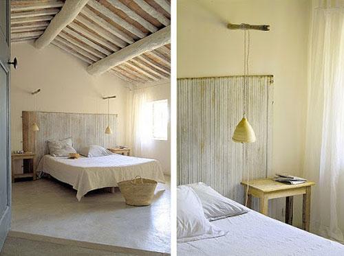 Rustieke slaapkamer van gerestaureerd landhuis