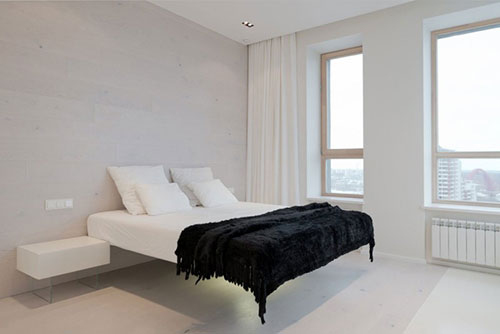 witte minimalistische slaapkamer in moskou