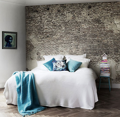 Slaapkamer Behang Met Tekst : Ideeen slaapkamer muur bakstenen in de