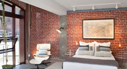Slaapkamer behang ideeën : Bakstenen muur in de slaapkamer Slaapkamer ...