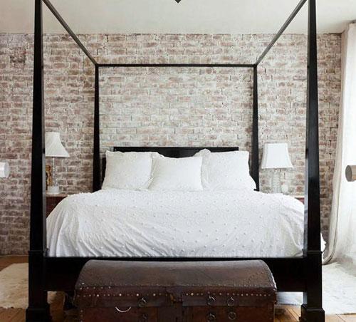 Bakstenen muur in de slaapkamer  Slaapkamer ideeën
