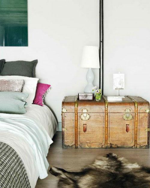 Industriële slaapkamer met warme ideeën