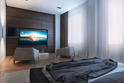 Slaapkamer Tv Moderne Met TV Aan Het Plafond