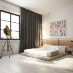 3D ontwerpen van een industriële loft slaapkamer