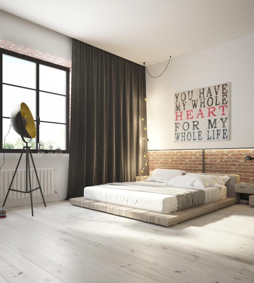 3D ontwerpen van een industriële loft slaapkamer | Slaapkamer ideeën