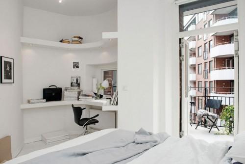 Kantoor in een witte slaapkamer slaapkamer idee n - Kamer kantoor ...