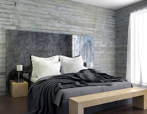 Landelijke Slaapkamer Behang : Betonnen muur in slaapkamer Slaapkamer ...