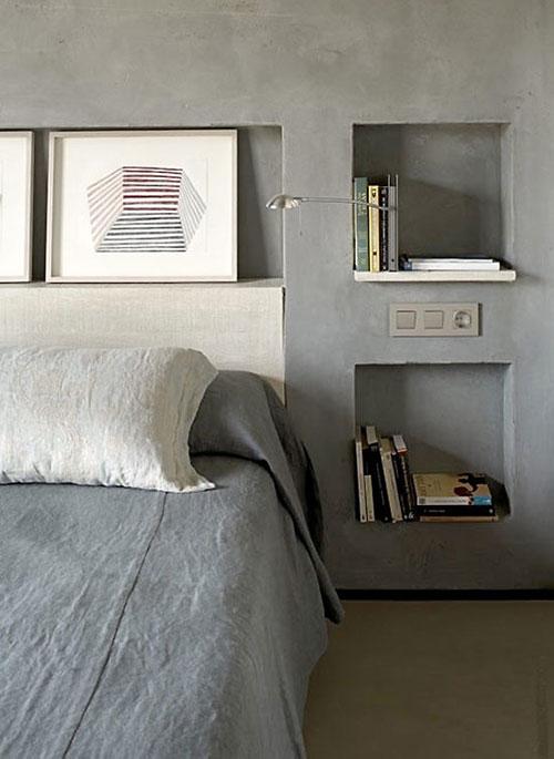 Betonnen muur in slaapkamer | Slaapkamer ideeën