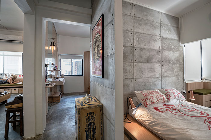 betonnen-muur-slaapkamer