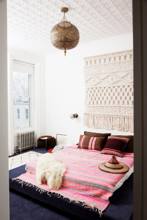 bohemien accessoires in slaapkamer