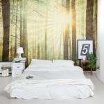 Bos fotobehang in slaapkamer