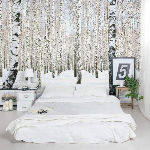Bos fotobehang in slaapkamer  Slaapkamer ideeën