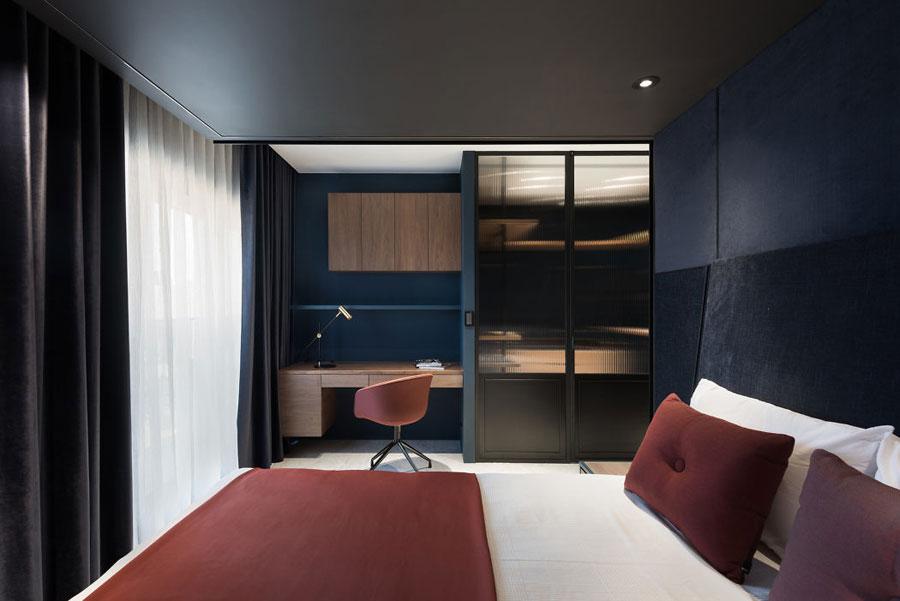 Chique slaapkamers met blauwe muren