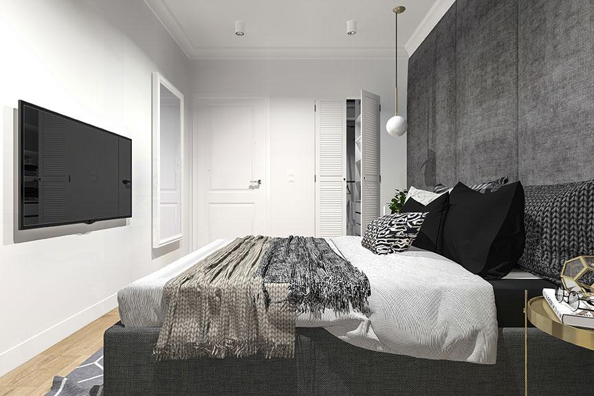 Deze moderne slaapkamer is erg stijlvol en exclusief ingericht