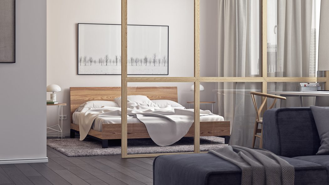 Deze moderne slaapkamer is middels een glazen scheidingswand gescheiden van de woonkamer