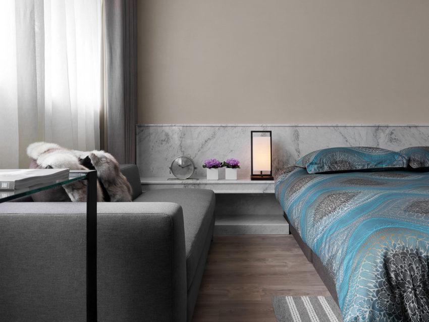 Deze slaapkamer is ingericht als een luxe suite