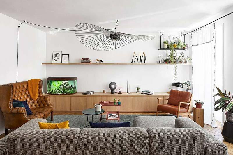 Eclectische slaapkamer met mooie kleuren