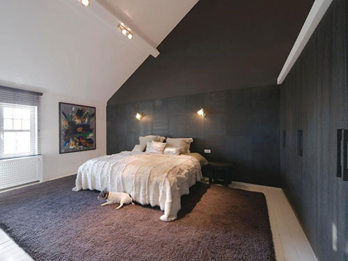 Slaapkamer Plafond Ideeen : Elegante slaapkamer met half open badkamer slaapkamer ideeën
