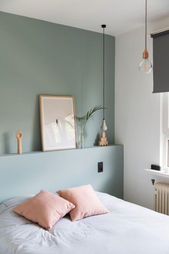 eucalyptus grijze muur slaapkamer