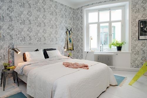 Frisse Scandinavische slaapkamer