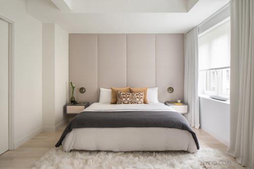 Gewatteerde muur in slaapkamer
