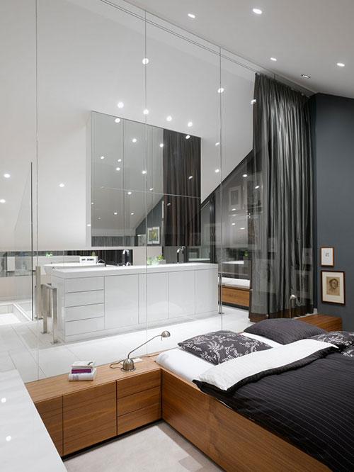 Glazen wand tussen slaapkamer en badkamer   Slaapkamer idee u00ebn
