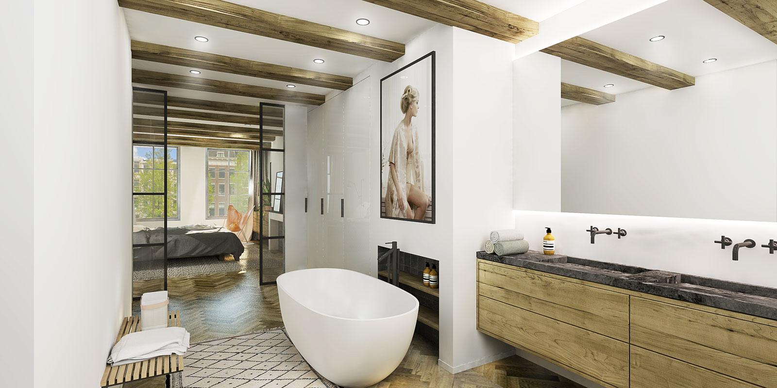 Global style slaapkamer badkamer combinatie
