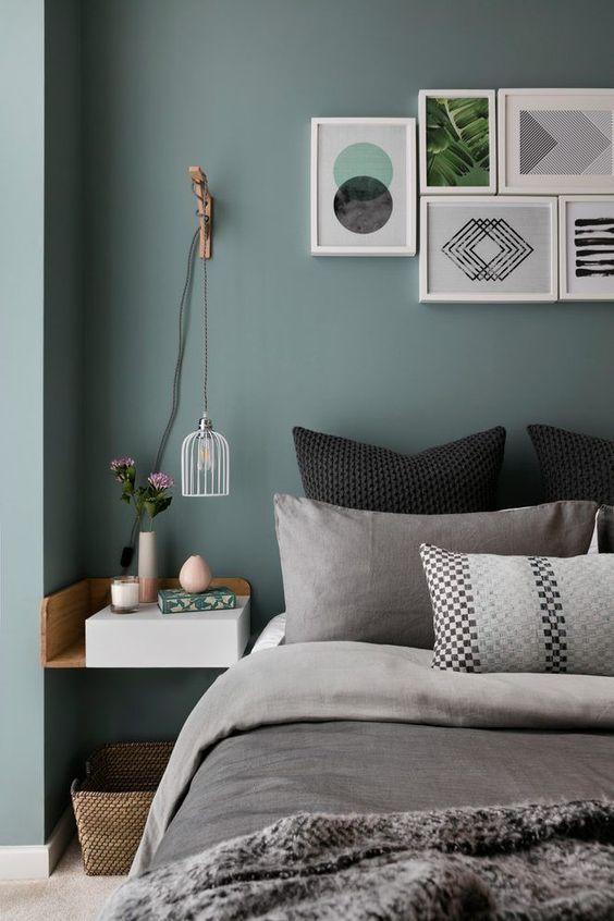 grijs groene muur slaapkamer