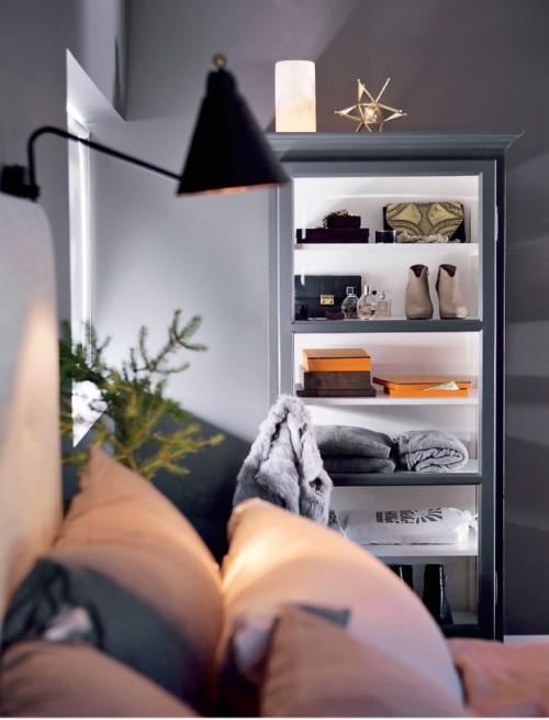 Grijze slaapkamer met kerstsfeer  Slaapkamer ideeën
