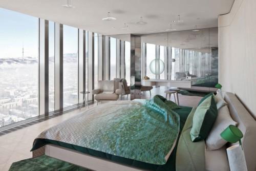 De luxe slaapkamer doet denken aan een kamer van een luxe designhotel ...