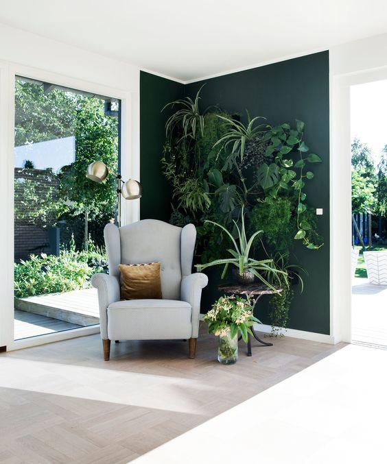 groene plantenwand slaapkamer