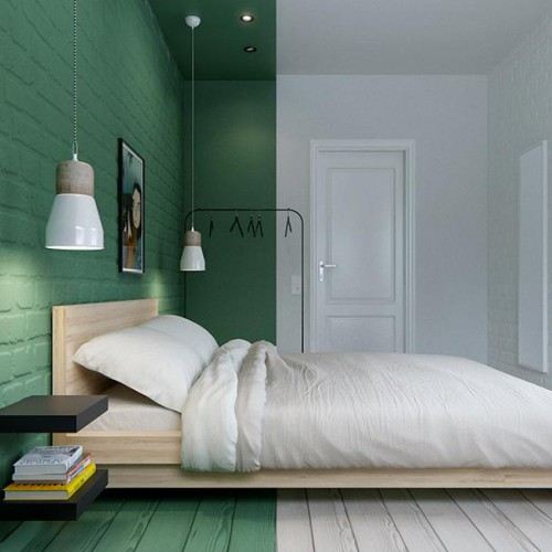 Unieke slaapkamer met kleurgebieden  Slaapkamer ideeën