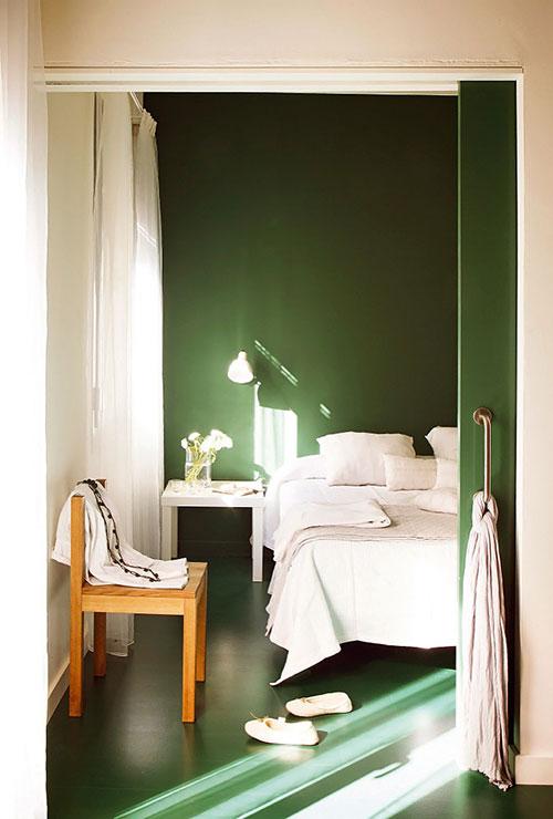 Groene slaapkamer inspiratie in Barcelona