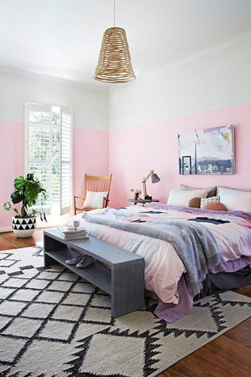 Half geschilderde muren in de slaapkamer