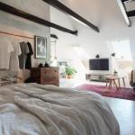 Open slaapkamer in een hip eenkamerappartement