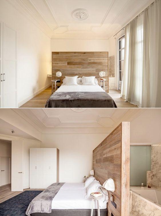 houten wandbekleding scheidingswand slaapkamer badkamer