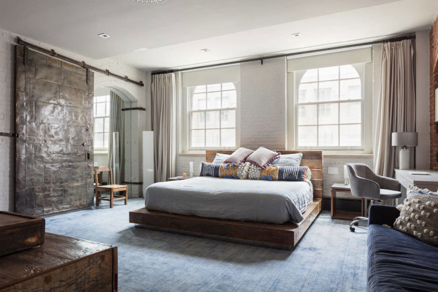 Industrieel chique slaapkamer in loft appartement in Tribeca New York