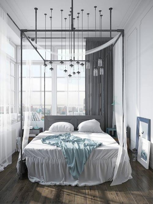 Industriële Scandinavische slaapkamer