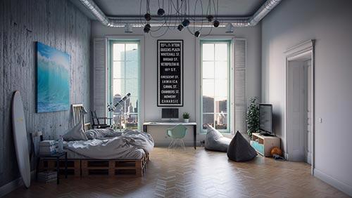 Industriële slaapkamer door architect Andrey Vladimirov