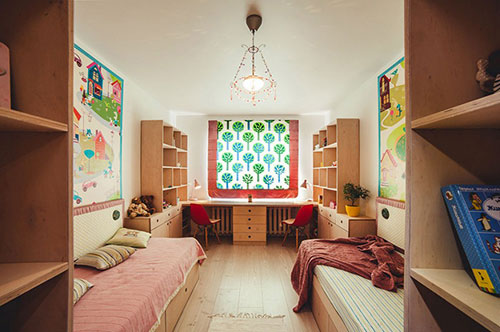 Kinderkamer met symmetrische indeling