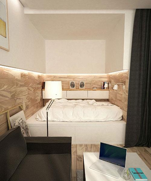 Kleine slaapkamer van klein appartement  Slaapkamer ideeën
