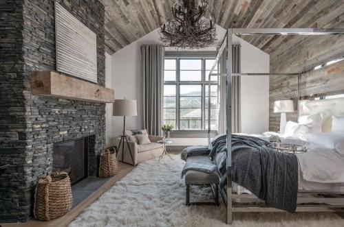 Knusse rustieke slaapkamer van Amerikaanse chalet | Slaapkamer ideeën