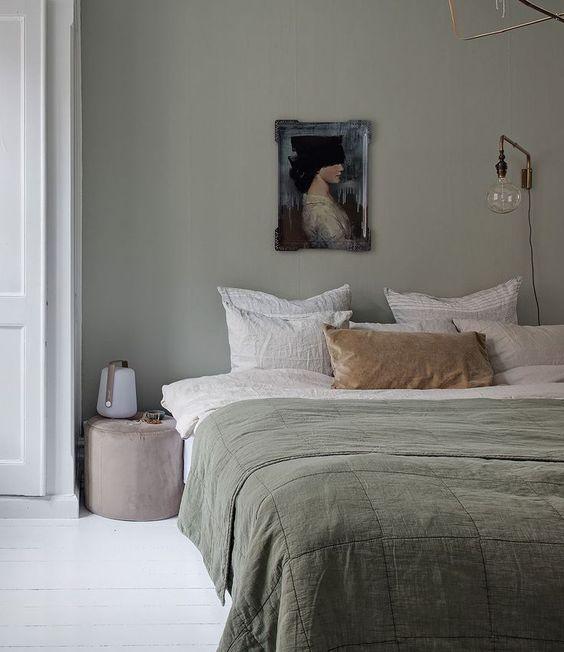 lets salie groene muur slaapkamer