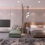 Slaapkamer ontwerp met koper en marmer