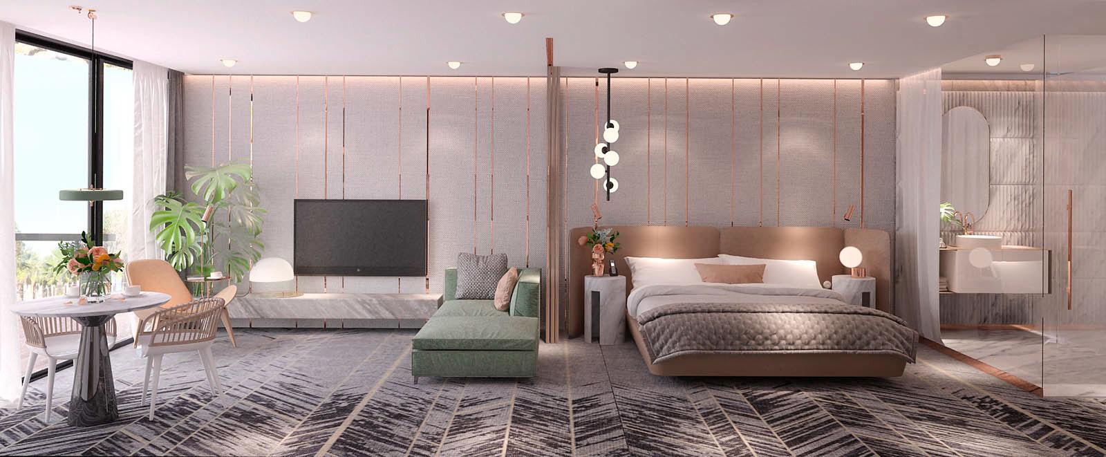 Slaapkamer ontwerp met koper en marmer | Slaapkamer ideeën