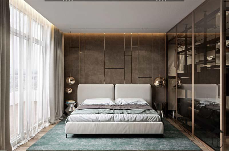 Luxe aardse slaapkamer met glazen inloopkast
