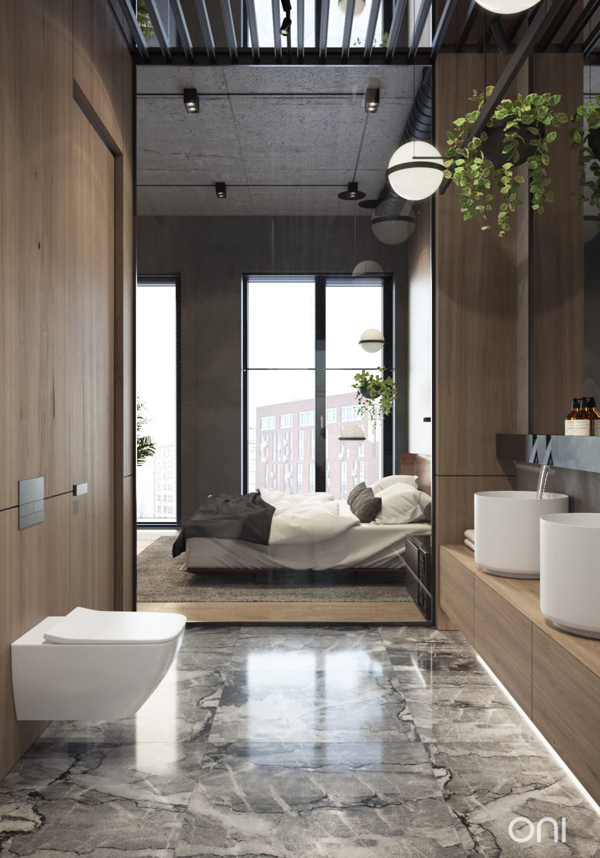 Luxe industriële loft slaapkamer in Moskou
