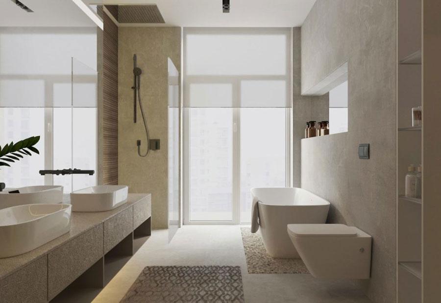 Luxe moderne slaapkamer met thuiskantoor en badkamer