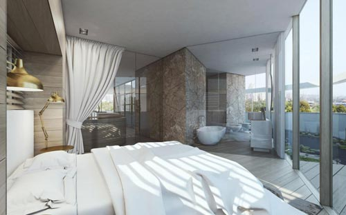 Gele muur slaapkamer : Luxe penthouse slaapkamer inspiratie Slaapkamer ...